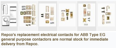 Repco's replacement electrical contact for ABB Type EG general purpose contactors are normal stock for immediate delivery from Repco